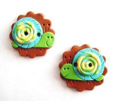 Button Twin Snails handmade polymer clay buttons ( 2 )