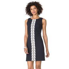Women's Chaps Lace-Trim Jacquard Dress, Size: 10, Blue Other