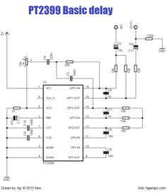 Basic guitar delay effect circuit. Electronics Projects, Electronics Basics, Cigar Box Guitar, Guitar Effects Pedals, Guitar Pedals, Diy Guitar Pedal, Reverb Pedal, Diy Amplifier, Electronic Schematics