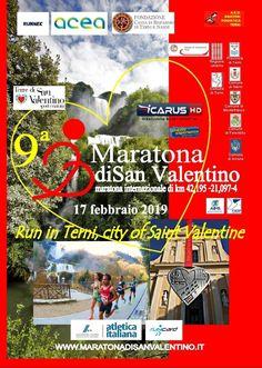 Maratona di San Valentino 2019 - 9a edizione si svolgerà il giorno 17/02/2019 a Terni (Tr) sulla distanza di Maratona, Mezza Maratona e 4Km. #corriqui San Valentino, Narnia, Comic Books, Comics, Cover, Marathon, Cartoons, Cartoons, Comic