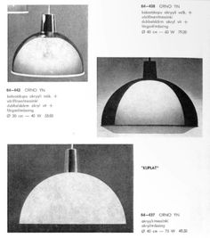 Three different versions of the original 'Kuplat'. (Orno catalog 1964)