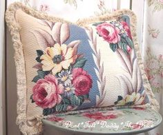 Shabby Chic Barkcloth Pillow