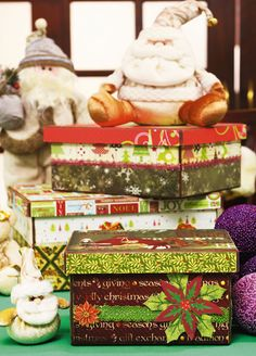 Caixa decoradas de Natal -  DIY, Christmas, Craft, craft box
