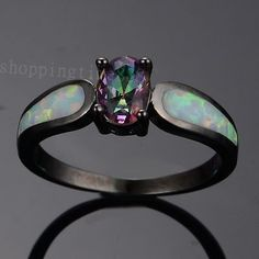 Size-6-9-Oval-Opal-Rainbow-Sapphire-Womens-10KT-Black-Gold-Filled-Wedding-Rings