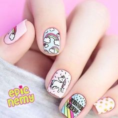 cute unicorn nails for kids ~ nails kids cute ` nails kids cute easy ` cute nails for kids ` kids nail designs cute ` nails for kids cute short ` kids nails cute simple ` cute unicorn nails for kids ` cute acrylic nails for kids Unicorn Nails Designs, Unicorn Nail Art, Cute Nail Art, Cute Nails, My Nails, Tumblr Nail Art, Nail Art For Kids, Nagel Hacks, Kawaii Nails