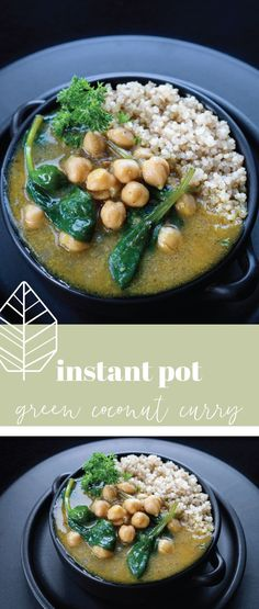 This delicious green coconut curry will have you coming back for seconds. With fresh ginger and turmeric, the health quota has been raised on this dish. Vegan Bean Recipes, Vegan Entree Recipes, Curry Recipes, Healthy Recipes, Vegan Soups, Healthy Soups, Vegetarian Dinners, Soup Recipes, Coconut Curry Soup