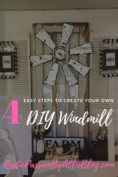 handmade home decor I absolutely love Modern Farmhouse Home Decor and anything DIY. If you do too you will enjoy this DIY windmill in 4 EASY steps! Learn how to make Joanna Gaines inspired home decor for cheap. Handmade Home Decor, Unique Home Decor, Cheap Home Decor, Handmade Wooden, Modern Farmhouse Decor, Modern Decor, Rustic Decor, Farmhouse Style, Rustic Charm