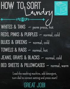 How to sort laundry chart. The idea is to group the clothes in groups that dye won't turn clothes :)
