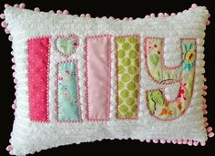 Personalized Chenille Applique Name Pillow