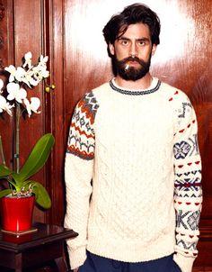 VIKING cream patchwork fairisle sweater. DE BEAUVOIR navy quilted jersey track pants.