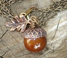Acorn Necklace Small Acorn with Leaf Necklace by RhondasTreasures...I can make something similar, love this.