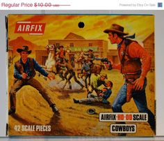 Airfix Cowboys Mint in Box Unpunched 70's Made in England