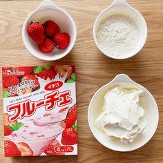 【フルーチェ使って焼くまで5分】いちごのチーズケーキ | riyusa日和。ザッパレシピで褒められおやつと時々おかず Sweets Recipes, Snack Recipes, Cooking Recipes, Desserts, Homemade Sweets, Japanese Sweets, Love Eat, Cafe Food, Easy Snacks