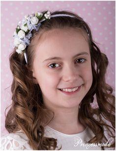 (Z-11) In Champagner: Blumenarrangement auf Haarreif! - Princessmoda - Alles für Taufe Kommunion und festliche Anlässe
