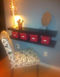 Vanity With String Lights : DIY Ikea hack vanity... put shelves on wall beside mirror Apartment Life Pinterest Makeup ...