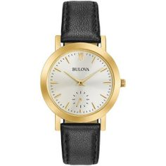 Bulova Womens Gold Tone And Black Classic Leather Strap Watch 97L159