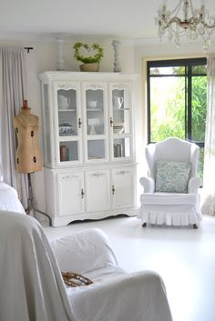 painted furniture - white hutch