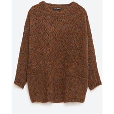 Zara Oversize Sweater (595 ARS) ❤ liked on Polyvore featuring tops, sweaters, jumpers, tan, over sized sweaters, tan sweater, brown tops, oversized sweater and tan top