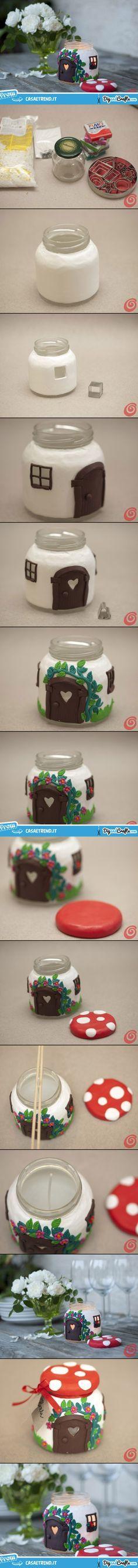 Glass Jar Mushroom – candle House   #DIY --- maybe make the jar & use an electric tea candle