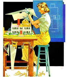 Ilustração Jones Holmgreen, capa da revista Homes & Garden , Setembro 1938.