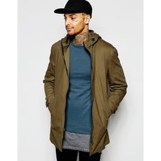 ASOS Festival Lightweight Parka Jacket In Khaki ($45) ❤ liked on Polyvore featuring men's fashion, men's clothing, men's outerwear, men's jackets, green, tall mens jackets, mens zip up jackets, mens khaki parka jacket, mens parka jacket and mens lightweight jacket