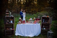 retour photo d'Andréa M - photos des mariés - déco en caisse vintage