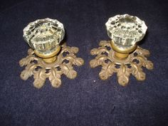 Old Vintage Glass Door Knobs With Heavy Brass Back Plates, Crafting or Coat Rack