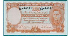 1939 Australia Ten Shillings - E98 84 This note is in fantastic condition with only the one centre fold. It is clean and fresh in appearance and has no pin holes. The edges are solid as well A super investment note and one that will gain steadily in value. - See more at: http://noteworthy-collectibles.com/1939-AUSTRALIA-TEN-SHILLINGS-BANKNOTE-E98426822#sthash.PoJJ2zPZ.dpuf