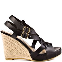 This style will click with anything in your closet.  Chinese Laundry's Double Click features a soft synthetic leather in a gorgeous black color.  A double adjustable ankle strap and weaving vamp create the perfect casual look.  Finishing off this fine look is an espadrille enveloped 4 inch wedge and 3/4 inch platform.