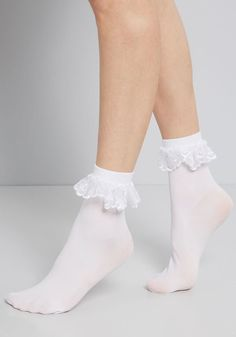Just You and Eyelet Socks Just like you and your bestie these white bobby socks are quite the stylish pair Daintily detailed with lace eyelet trim along the folded cuff these sheer socks are where classic meets ohsocute. Frilly Socks, Sheer Socks, Lace Socks, Socks And Heels, Ankle Socks, Jeans Heels, 90s Grunge, Soft Grunge, Sock Shoes