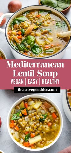 #ad This Mediterranean Lentil Soup is packed with healthy ingredients like lentils, garlic, and spinach for a tasty recipe that will keep you full and satisfied! On the blog, I'm sharing this yummy recipe, along with tips from Patient First to help you stay healthy during this winter season. Stay Healthy, Healthy Meal Prep, Healthy Living Recipes, Healthy Dinner Recipes, Vegetarian Recipes, Vegan Lentil Soup, Lentil Salad, Tasty Recipe, Rice Soup