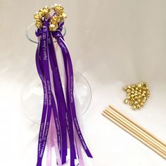 How to tutorial for making wedding ribbon wands with custom printed ribbon.