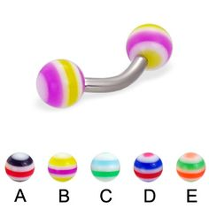 Curved barbell with circle balls, 12 ga
