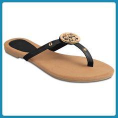 CASPAR Damen Sandaletten / Sandalen / Zehentrenner mit eleganten Gold Elementen - viele Farben - SSA007, Farbe:orange;Größe:36