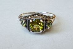 Gorgeous 3 Stone Peridot Ring in Sterling Silver by LaPlumeNoir, $68.00