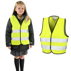 Reflective Velcro Fastening Childrens Objective Girls Deluxe Pink Hi Vis Waistcoat