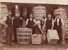 c.1910: 'workers at Moon's basket manufactury, Long Rock, Penzance, Cornwall. c.1910. Image: Courtesy of Richard Moon basketmaker. His grandfather and father are first and third from left. Crates for transporting cauliflowers to London were made in white willow. The owner's initials were stencilled on to ensure their return. Crates for harvesting in the field were made in buff willow.' ✫ღ⊰n
