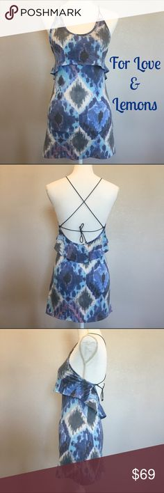 "For Love & Lemons 'Ikat' Sundress - Sz XS - R$158 For Love and Lemons 'Ikat' tribal print dress with bungee cord crisscross adjustable tie back and ruffle around top. Excellent used condition. Measurements: 14"" waist, 25"" from top (where material/cord meet) to bottom. Stretchy material. Material tag has been removed because it was uncomfortable! Hand washed. Size XS. Retail $158.  ✅Always Authentic✅ ⬇️Bundle & Get 10% Off & Save on Shipping⬇️ ❌Trades❌PayPal❌ For Love and Lemons Dresses Mini"