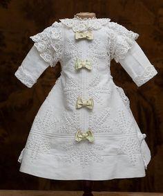 "Antique Original French White Cotton Pique Dress with Soutache trim for Jumeau bru Steiner Eden Bebe doll about 26"" (65 cm)"