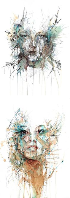 Tea, Vodka, Whiskey and Ink Portraits by Carne Griffiths. This is very inventive and rather unusual! It doesn't show any emotion other than confusion... However it creates a beautiful piece and I'd love to use this technique within my work at some point.