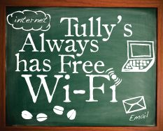 Tully's Coffee: (Not in asia, the wifi is not enabled here yet.)