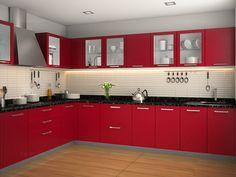 Vanila Vogue L-shaped Modular Kitchen Ebony Kitchen Cupboard Designs, Kitchen Tiles Design, Modern Kitchen Design, Interior Design Kitchen, Modern Kitchen Interiors, Home Decor Kitchen, L Shaped Modular Kitchen, Kitchen Layout Plans, Cuisines Design