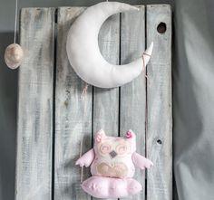 Hanging Owl  Fabric Owl  Stuffed Owl  by ForestGirlbyElektra