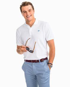 Men's Skipjack Pique Polo Shirt Classic White / XXL by Southern Tide Best Polo Shirts, Polo Shirt Style, Polo Shirt Outfits, Pique Polo Shirt, Southern Fashion, Southern Mens Style, Southern Clothing Brands, Preppy Mens Fashion, Womens Fashion