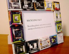 Upcycled Green Earth Friendly Memory 4x6 Magazine Paper Picture Frame - F