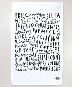 FRESH DESIGN. cheese tea towel. Painted typefaces