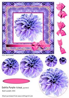Dahlia Purple icious on Craftsuprint designed by Bodil Lundahl - 150 x 150 mm easy cut and easy made pyramid image with tag and 3D bow. - Now available for download!