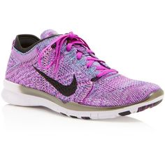 Nike Women's Free Flyknit Lace Up Sneakers (170 CAD) ❤ liked on Polyvore featuring shoes, sneakers, purple, light weight shoes, woven shoes, nike shoes, laced shoes and lightweight shoes
