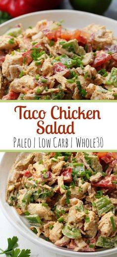 This easy taco chicken salad is a family friendly paleo reci.- This easy taco chicken salad is a family friendly paleo recipe that only takes 15 minutes to whip together. No cooking needed! It's a great salad for meal prep or side dish for any event! Whole Foods, Paleo Whole 30, Whole 30 Salads, Whole 30 Meals, Main Meals, Whole30 Chicken Salad, Taco Chicken, Cooked Chicken, Low Carb Chicken Salad