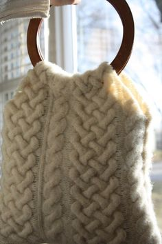 Creamy Cable Knit Handbag from Upcycled Wool Sweater Lined with Plaid Upcycled Wool